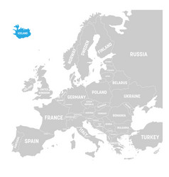 iceland marked by blue in grey political map of vector image vector image