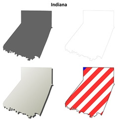 Indiana map icon set vector