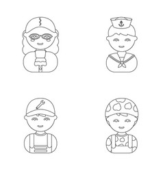 Judge sailor soldier mechanicprofession set vector