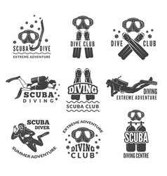 Labels or logos for diving club pictures vector