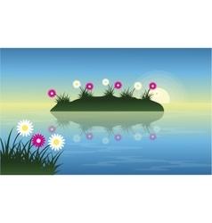Landscape of flower on lake at spring vector