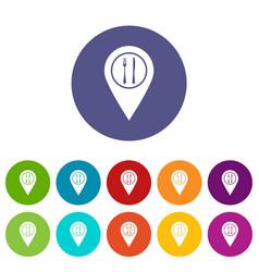 Map pin icons set flat vector