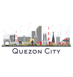 quezon city philippines skyline with gray vector image
