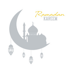 Ramadan kareem concept shadow of muslim mosque vector