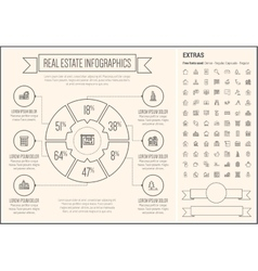 Real estate line design infographic template vector