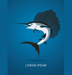 Sailfish jumping graphic vector