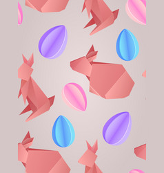 seamless texture with paper origami rabbits and vector image vector image
