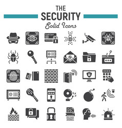 Security solid icon set cyber protection signs vector