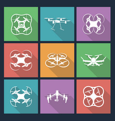 Set of aerial drone footage emblems vector