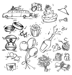 Set of wedding icon vector image vector image