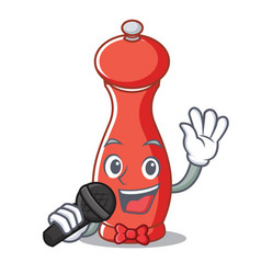 Singing pepper mill character cartoon vector