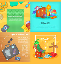 Travel banner set cartoon style vector