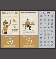 virtual reality infographic template and elements vector image vector image