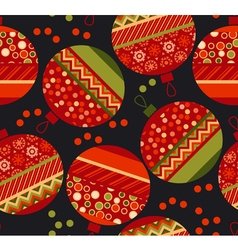 Vivid ornament patchwork xmas bubbles seamless vector