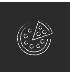 Whole pizza with a slice icon drawn in chalk vector