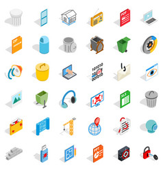 Working computer icons set isometric style vector