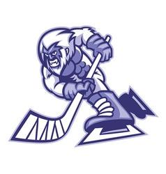 Yeti ice hockey mascot vector