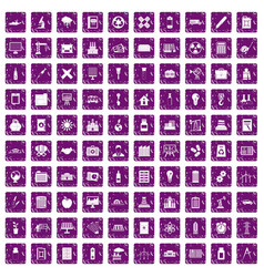 100 company icons set grunge purple vector