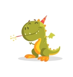 Green Dinosaur Monster At The Party vector image
