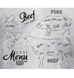 Meat menu coal vector