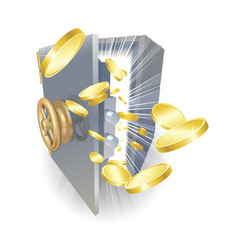 Safe with gold coins flying out vector
