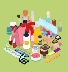 Female cosmetics make-up set isometric vector