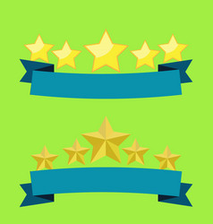 Five stars on blue ribbon flat design with light vector