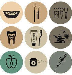 Dental icons in color vector image