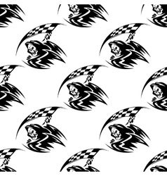 Seamless pattern of black death with scythe vector
