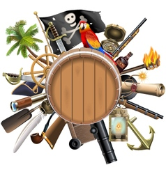 Pirate concept with barrel vector