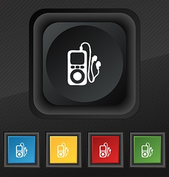 Mp3 player headphones music icon symbol set of vector