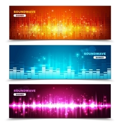 Equalizer sound waves display banners set vector