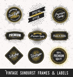 Set of frame and label with vintage sunburst vector