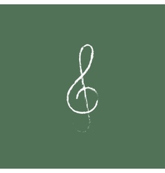 G-clef icon drawn in chalk vector