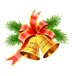 Gold christmas bells with red vector