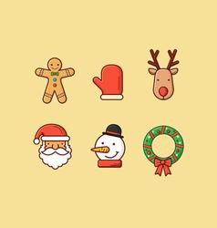 Christmas Icons 2 Flatten vector image