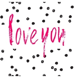 Love you card ink vector