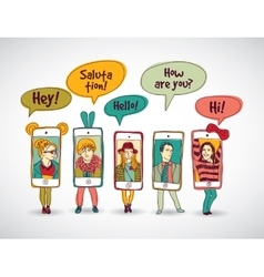 Mobile phones standing group communication people vector