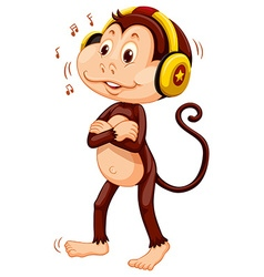 Little monkey with headphone on his head vector image