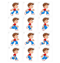 Animation of running boy twelve frames vector