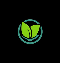 Herbal green leaf bio organic logo vector