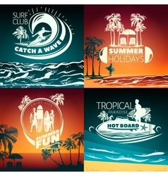 Surfing colored composition vector