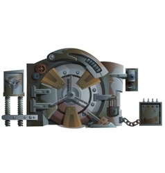 Rusty old bank door with lots of locks isolated vector