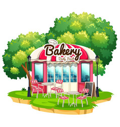 Bakery shop with dining tables vector