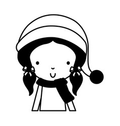 Black icon christmas upperbody girl vector