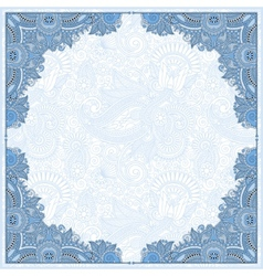 Blue colour floral vintage frame ukrainian ethnic vector