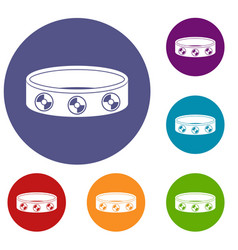 Bracelet with gems icons set vector