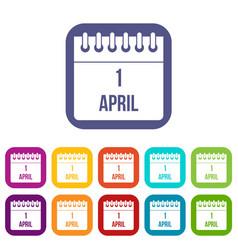 Calendar april 1 icons set vector