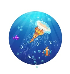 Cartoon image of a jellyfish and sea fish vector image
