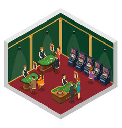 Casino isometric interior composition vector